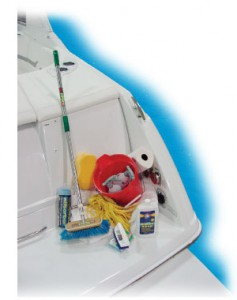 "An image containing boat maintenance items including a deck brush, a mop, and cleaning liquids. The purpose of this image is to give a visual as to what the ""bare minimum"" is to clean your boat."