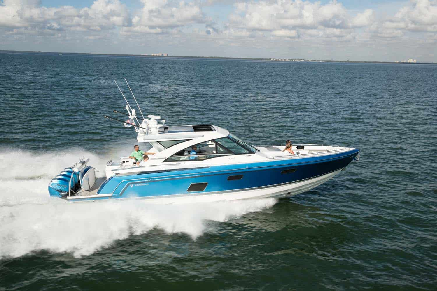 An image of the 430 All Sport Crossover boat on the ocean for better understanding of the model visually.