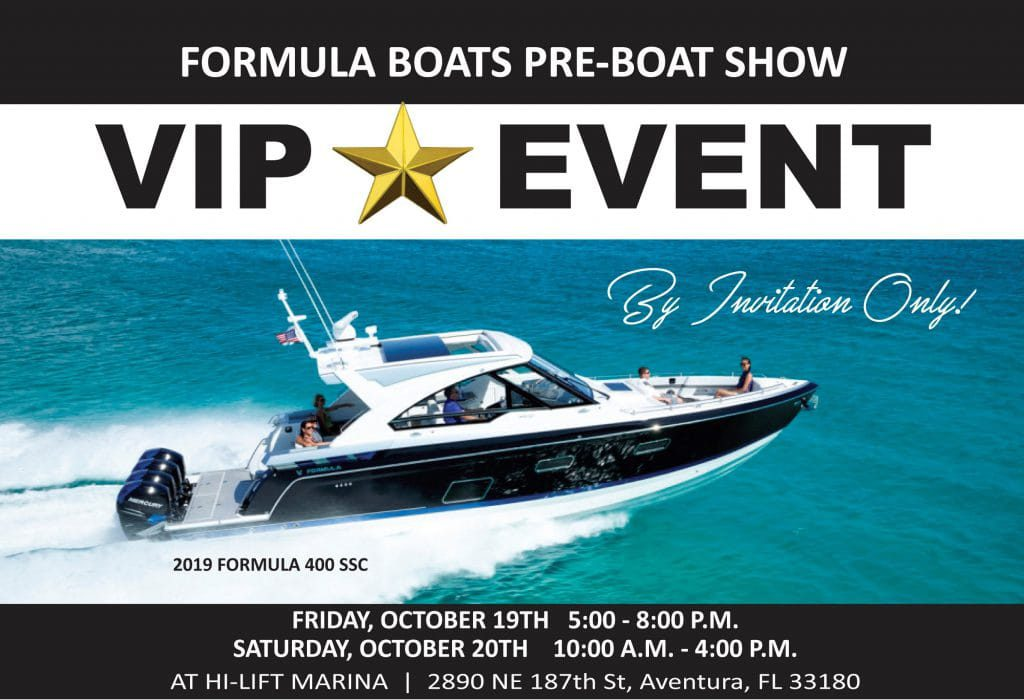 An image containing details about the Formula Boats Pre-Boat show.
