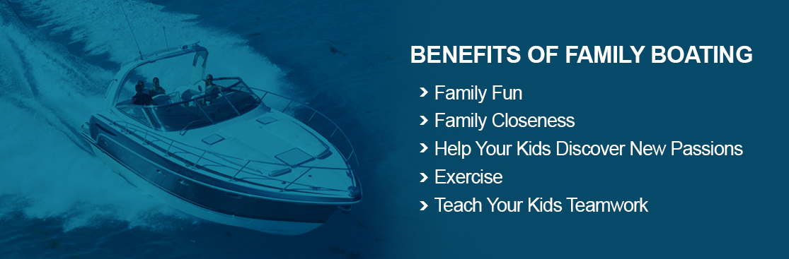 """A banner with the title, """"Benefits of Family Boating."""" Beneath the title are 5 points listed which reflect the sections in the article: family fun, family closeness, helping your kids discover new passions, exercise, and teaching your kids teamwork."""