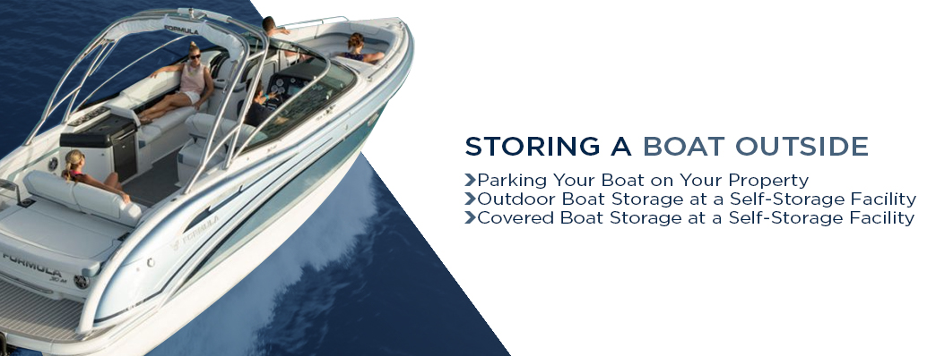"""A banner with the title: """"Storing a boat outside"""" with the three options of storage: parking on your property, storing outdoors at a self-storage facility, and storing a covered boat at a self-storage facility. This is used the mark the beginning of the section that discusses these options."""