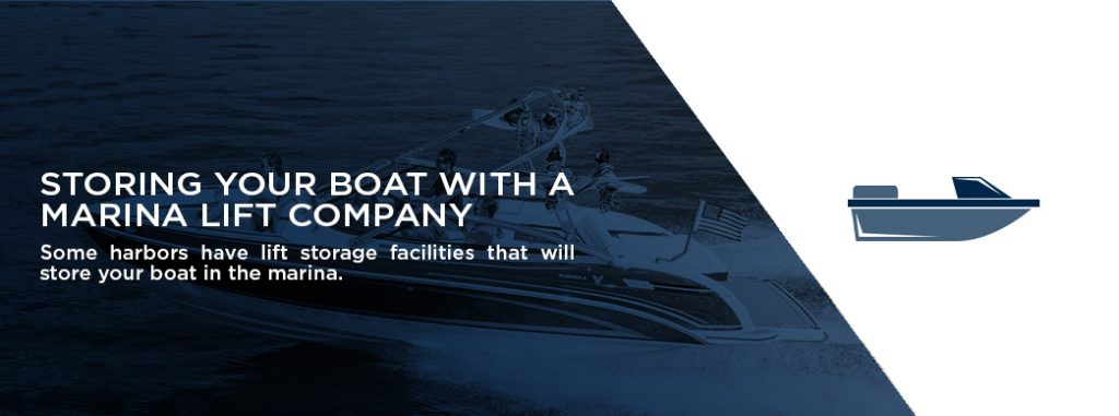 A banner for the section discussing storage with a marina lift company.