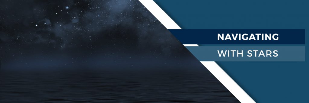 A banner indicating the beginning of its respective section: Navigating with Stars