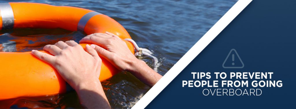 A banner to signal the start of the next section on how to prevent people from going overboard. The text is displayed next to an image of two hands grabbing the edge of a life rings.
