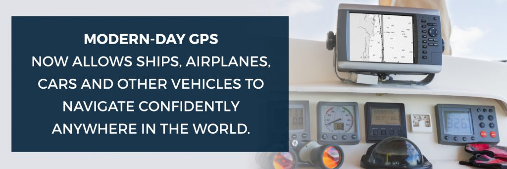 A banner explaining the use of modern-day GPS as mentioned in the article.